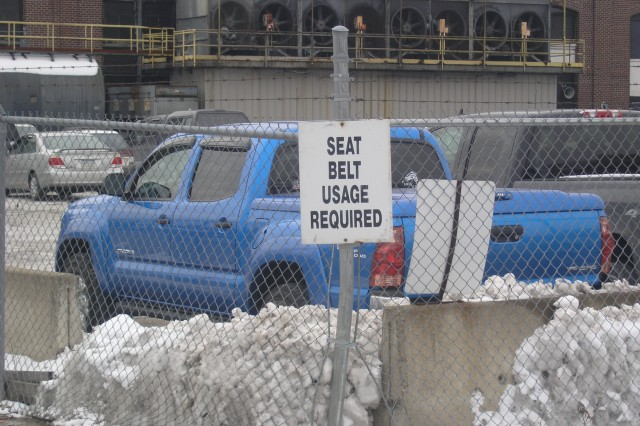 Photo by Tim Tuttle.  At SCAAP gate: All employees and visitors are reminded that they must wear seat belts while driving on the installation.