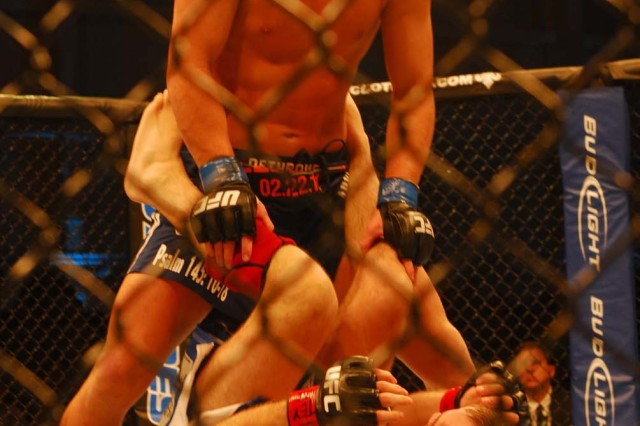 Matt Wiiman took his Lightweight fight against Cole Miller and ran with it during UFC's Fight for the Troops Jan. 22, 2011, at West Fort Hood, Texas. Fight for the Troops is raising awareness for UFC Intrepid Fallen Heroes Fund, which is a leading effort in supporting servicemembers who suffer from Traumatic Brain Injuries sustained from overseas tours.