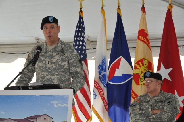 Chief Warrant Officer Peter C. Gillies, the AMC Band Commander, thanked the designers that spent countless hours in designing the building and researching what specifically an Army band would need to perform. U.S. Army Photo by Cherish Washington, AMC Public Affairs.