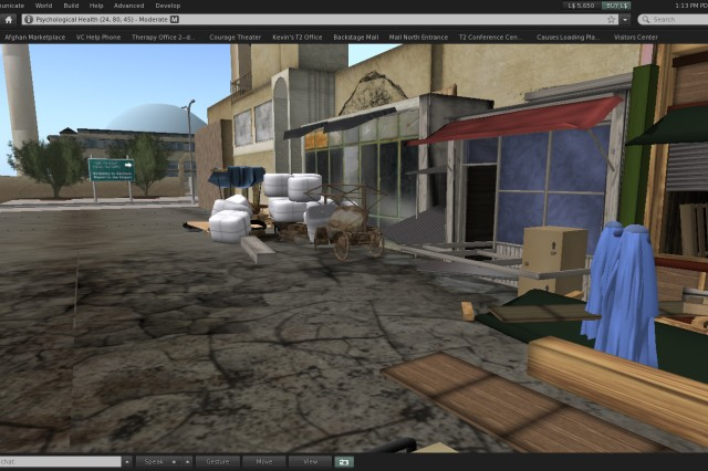 A virtual Afghan marketplace as portrayed in Second Life inside Department of Defense's Virtual PTSD Experience. Program users can navigate role-playing scenarios such as an explosion going off, and monitor their stress levels.