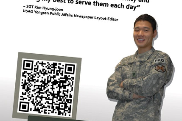"The new ""I care"" campaign launched Tuesday unveiled a QR Code that links paper media users with smart phones to the biography of the person featured. Yongsan Public Affairs will expand the codes to link to high demand forms and publications online, as well as video promotions."
