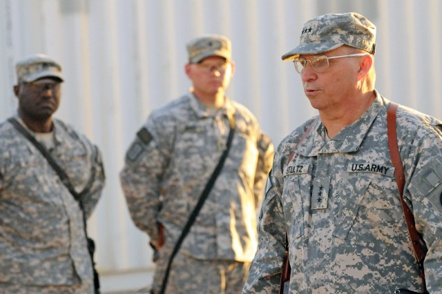 Lt. Gen. Jack Stultz, chief of the Army Reserve, speaks to a group of Soldiers during his visit to Kandahar Airfield, Afghanistan, Jan. 23.