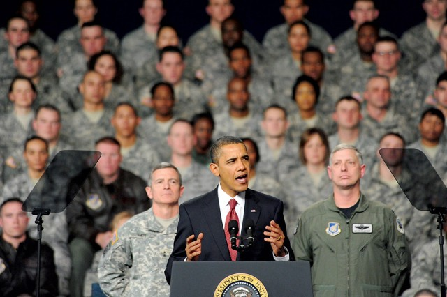 President Barack Obama gives a speech to a crowd of military and civilian personnel gathered at Elmendorf Air Force Base Nov. 12, 2009