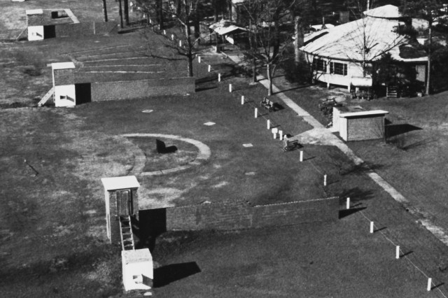 FORT BENNING, Ga. -- An overhead view of the skeet fields on Hook Range from the 1970s with the Patton Round House off to the side. The range has hosted numerous national matches and those in attendance would frequent the Round House for a game of pool or to sit by a fire and relax in between shooting.  (Courtesy photo)