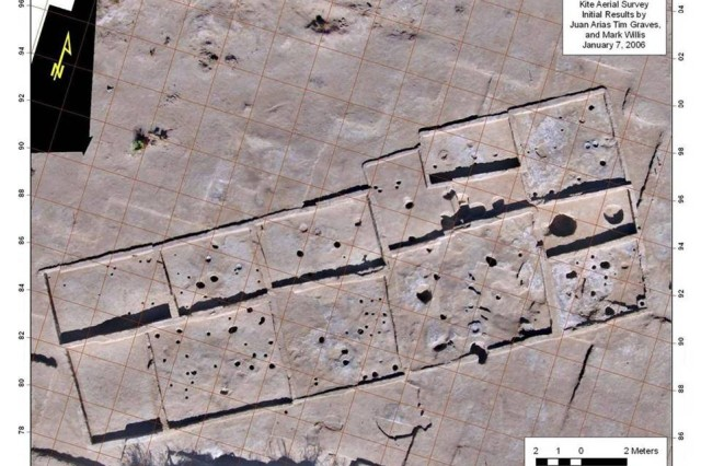 """Map of """"Madera Quemada"""" prehistoric pueblo site. This is one of the most intact multi-room adobe pueblos discovered in over 20 years in the region.  Fort Bliss received a New Mexico Heritage Preservation award for their work on this important"""