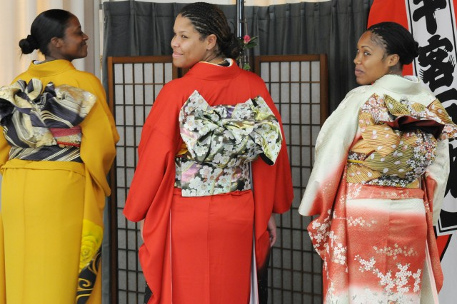 Members of the U.S. Army Pacific Headquarters and Headquarters Battalion model authentic Japanese kimonos during Yama Sakura 59, an annual bilateral training exercise.