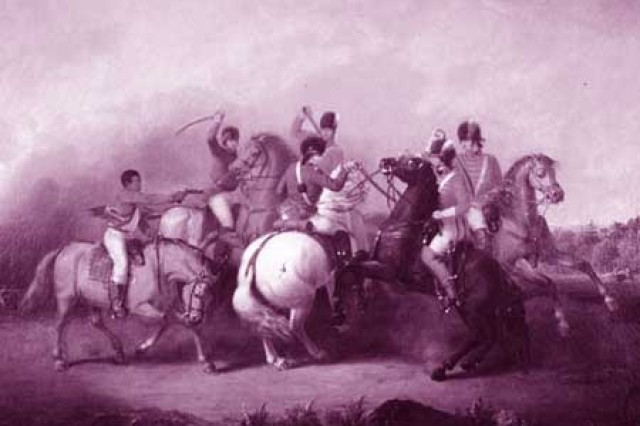 The Battle of Cowpens, painted by William Ranney in 1845. The scene depicts an unnamed black soldier (left) firing his pistol and saving the life of Colonel William Washington (on white horse in center).