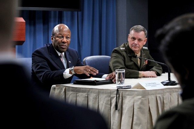 Under Secretary of Defense for Personnel and Readiness Clifford Stanley, and Vice Chairman of the Joint Chiefs of Staff Marine Corps Gen. James Cartwright, hold a Pentagon press briefing, Jan. 28, 2011, to explain to reporters what steps the Department of Defense is taking to prepare for the implementation of new legislation concerning homosexuals openly serving in the U.S. Armed Services.
