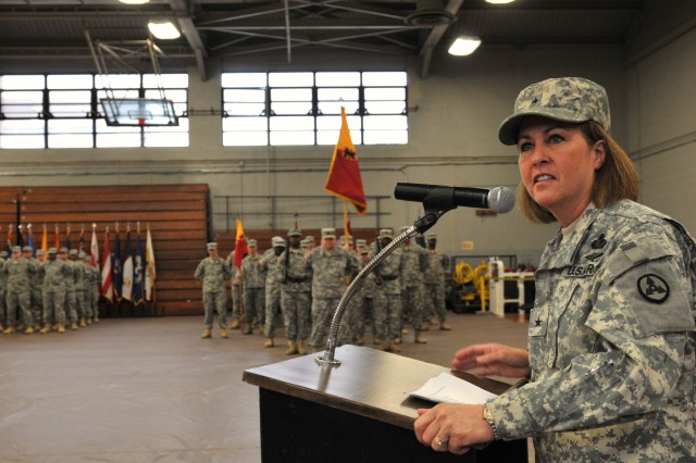"""Brigadier Gen. Robin Akin, commander, 3rd Sustainment Command (Expeditionary), addresses the crowd at Anderson Field House during the 7th Sustainment Brigade casing ceremony held at Fort Eustis Jan 28. Akin talked about Soldier expectations while on deployment saying, """"These Soldiers are going to do great things, they are going to do to the right thing and I guarantee they will do it well. This organization is ready."""" (U.S. Army photo by Sgt. Edwin J. Rodriguez)"""