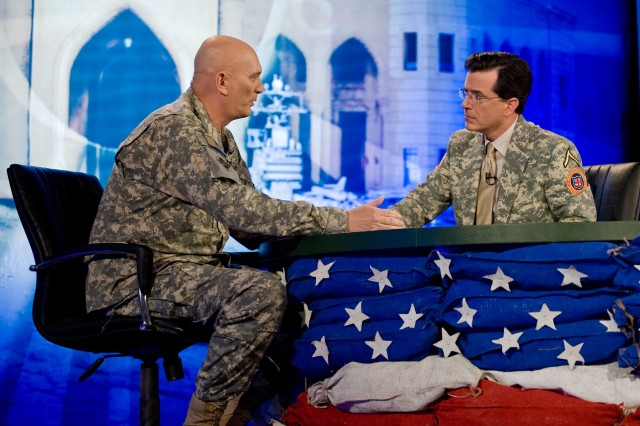 "Stephen Colbert interviews special guest Gen. Ray Odierno, then-commander of Multi-National Force-Iraq, for a special episode of ""The Colbert Report."""