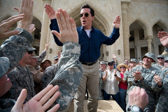"Stephen Colbert greets troops and civilians at Al Faw Palace at Camp Victory in Baghdad, June 5, 2009, as part of his ""Operation Iraqi Stephen: Going Commando"" tour."