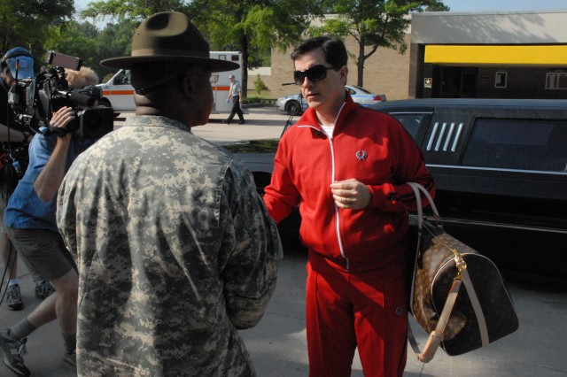 "Stephen Colbert arrives at Fort Jackson, S.C., ready to report for Basic Combat Training. He gets off on the wrong foot when he asks his drill sergeant, ""Can I get a bellman'"""