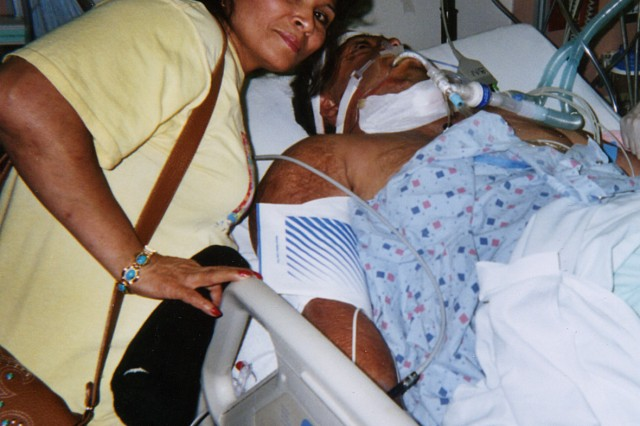 J.R. Martinez recovering from one of his 33 surgeries about a year after his initial injury, with his mother Maria Zavala at his side. Martinez calls her his best friend and credits her with snapping him out of the depression he sunk into when he realized the extent of the burns that covered his body.