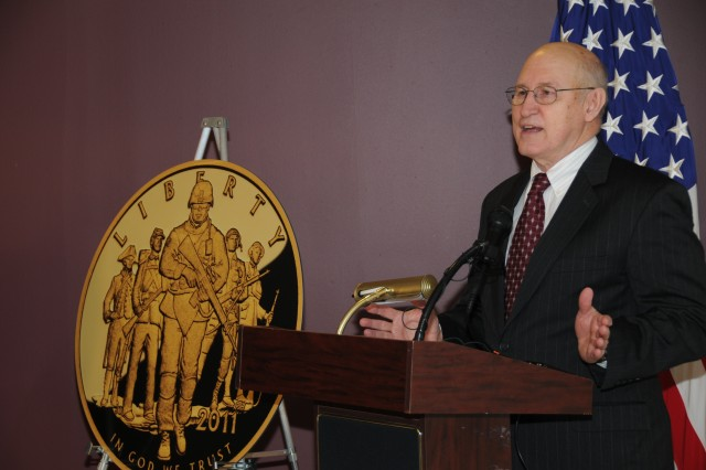 During a ceremony Jan. 31, at the Pentagon, retired Brig. Gen. Creighton W. Abrams Jr. said the sale of three new coins from the U.S. Mint, which feature Army-themed scenes, will help with construction of the National Museum of the United States Army.