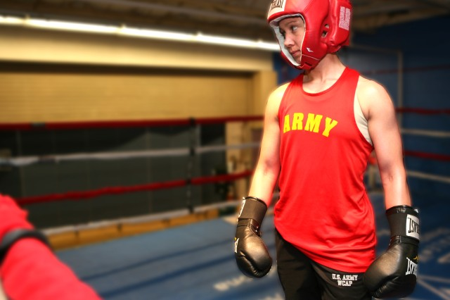 Spc. Caroline Barry will compete for gold at the All-Army boxing championships, held at Fort Huachuca, Ariz.