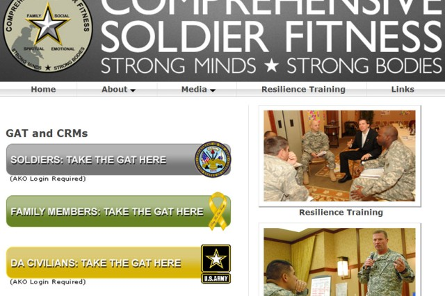 The front page of the Comprehensive Soldier Fitness website has been streamlined and uses quick tabs to give the Soldier, family member or Department of the Army civilian employee quick and easy access to the assessment tools.