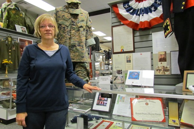 Becky Loggins has donated several items from her son Adam's collection of uniforms and mementoes for a display at the Alabama Veterans Museum in Athens. Marine Lance Cpl. Adam Loggins died while serving in Iraq on April 26, 2007.