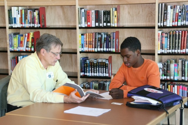 ECBC research biologist Darrel Menking, left, meets his new mentee, freshman Tony Cole, at the first RAM Hour Academic Club mentoring session.