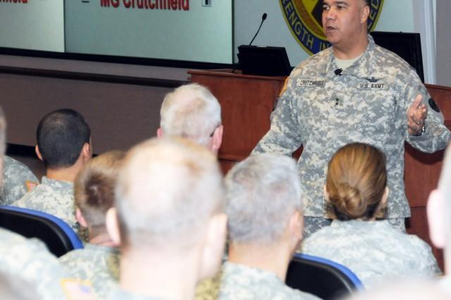 Maj. Gen. Anthony G. Crutchfield speaks to Warrant Officer Staff Course graduates during a graduation ceremony Feb. 4.