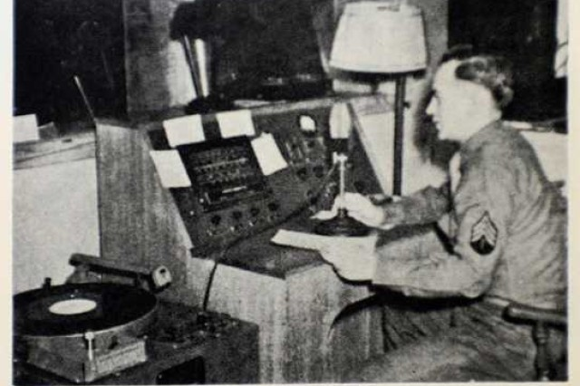 An early photograph shows a dee-jay working at Madigan Army Medical Center's closed circuit radio station. More than 8,000 vinyl records from the Armed Forces Radio Service dating back to the 1940s were found last month by contractors performing renovations at Keeler Sports and Fitness Center. The records were played at the Madigan radio station.