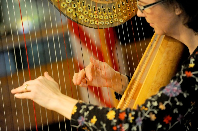 """Harpist Leslie McMichael performs during the third annual Operation Care Fair Feb. 5 at McChord Field. """"We wanted to do something that was kind of different,"""" DFMWR Special Event Planner Elizabeth Thunstedt said. """"Everything tends to be very army, hooah, camouflage."""""""