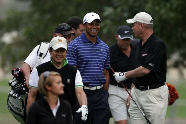 Lt. Col. Michael Rowells (far right) with Tiger Woods during the Omega Dubai Desert Classic Pro-Am tournament at the Emirates Golf Club on Feb. 9. Rowells was picked from 16,000 online contestants to play in a foursome with the No. 3 golfer in the world. Rowells is serving with the 401st Army Field Support Brigade at Bagram Airfield, Afghanistan. (Courtesy photo)