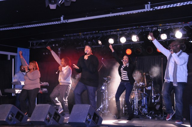 James Fortune & FIYA harmonize at Hohenfels during the Lift Up Your Spirit tour, Feb. 9.