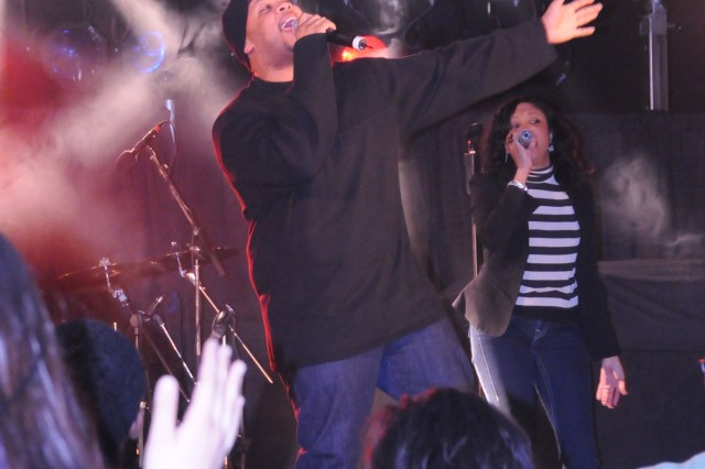 James Fortune and his wife Cheryl croon to the crowd at the Lift Up Your Spirit show at Hohenfels, Feb. 9.