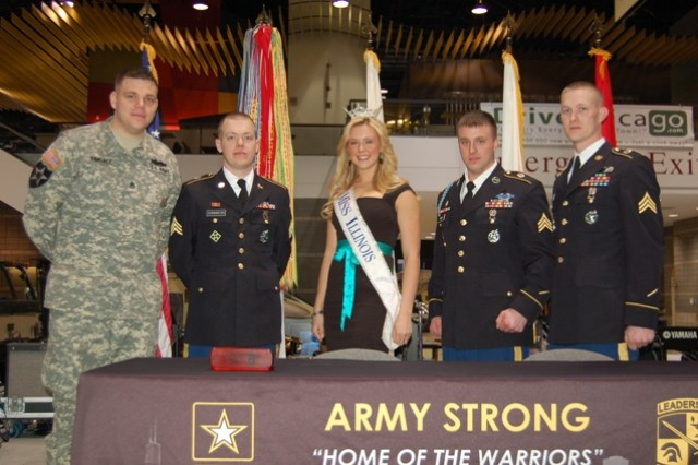 'Miss Illinois ' Whitney Thorpe Klinsky with Homewood, Ill. Recruiting Station Soldiers at the 2011 Chi. Auto Show.