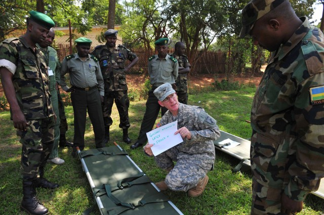 402nd Civil Affairs Functional Specialty Team surgeon, Col. David Hayes, assigned to Combined Joint Task Force - Horn of Africa, presents a casualty scenario to Rwanda Defense Force battalion medical officers during a flight medicine seminar Jan. 26, 2011, in Kigali.