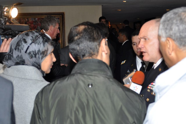 U.S. Army Africa Commander, Maj. Gen. David R. Hogg, speaks with reporters at the Marrakech Security Forum in Marrakech, Morocco, Jan. 20.