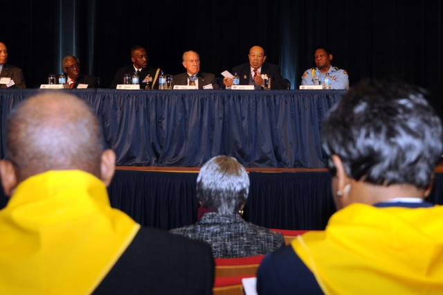 "Framed by former ""Triple Nickel"" Soldiers of the 555th Parachute Regiment, Korean War veterans tell a Pentagon audience of their experiences in ""the forgotten war"" at a Black History Month observance Feb. 11."