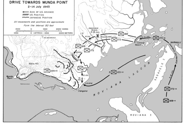 A map showing the drive towards Munda Point by U. S.  Army forces, July 2-14, 1943.