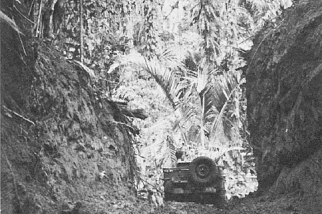 A jeep trail from Zanana Beach, near Munda, built through heavy jungle by the 118th Engineer Battalion of the 43rd Infantry Division, demonstrates the innovativeness and determination of the Army when fighting in unfamiliar and unforgiving conditions.