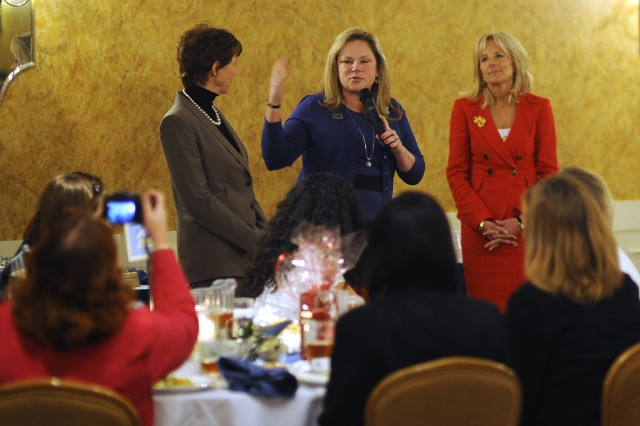 Ginger Cucolo, wife of 3rd Infantry Division commanding general Maj. Gen. Tony Cucolo, introduces Sheila Casey, wife of the Chief of Staff of the Army Gen. George W, Casy Jr., and Dr. Jill Biden, wife of Vice President Joe Biden, to a group of spouses at Ft. Stewart, Georgia, whose loved one are currently deployed, Feb. 14, 2011.  The visit is part of the administration's ongoing work to raise awareness and show appreciation for service members and their families.