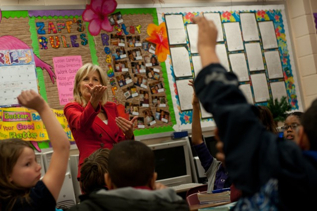 """Dr. Jill Biden, wife of Vice President Joe Biden,  calls on a students during her visit at Joseph Martin Elementary School in Hinesville, Georgia, Feb. 14, 2011.  """"I found out that at the school here they do a great job in taking care of military children but I hope that transfers to all schools,"""" explained Dr. Biden."""