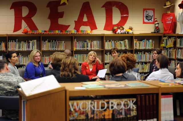 Dr. Jill Biden, wife of Vice President Joe Biden,  has a group discussion with teachers and staff members of Joseph Martin Elementary School in Hinesville, Georgia, Feb. 14, 2011.  Dr. Biden's visit focused on military families and the specific needs of military children in the classroom.