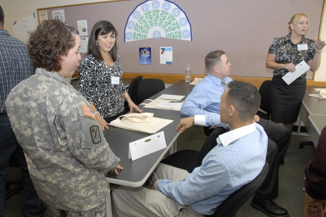 SCHOFIELD BARRACKS, Hawaii - Community Services delegates participate in icebreakers at the Education Center, here, Feb. 8.