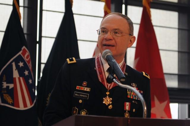 Eighth Army Deputy Commanding General Maj. Gen. Robert J. Williamson speaks at his retirement reception Feb. 14.