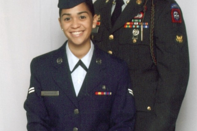 Sgt. Nelson Villanueva and his sister, Senior Airman Vanessa Villanueva, had this photo made for their parents December 2010. Villanueva joined the U.S. Army Space and Missile Defense Command/Army Forces Strategic Command Feb. 8 as Command Sgt. Maj. Larry Turner's driver.
