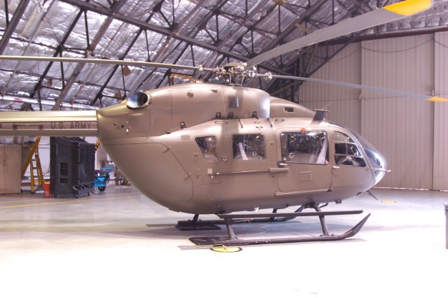 "The ""Lakota"" as seen during a ceremony held at Fort Belvoir's Davison Army Airfield, Aug. 11, 2010.  The UH - 72A twin engine helicopter was presented to staff and visitors during that ceremony held in its newly refurbished and renamed hangar.  The helicopter is an essential enabler during contingency missions by providing enhanced defense support to civil authorities and will also provide passenger transportation within the National Capital Region."