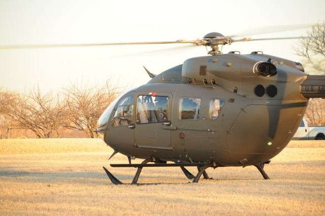 """The """"Lakota"""" UH-72A powers up and readies for flight from a field at Fort McNair  after completing its first operational mission.  The historic flight brought Major General James L. Hodge, Commanding General, U.S. Army Combined Arms Support Command Sustainment Center of Excellence at Fort Lee, Va. to Fort McNair, Feb. 11."""