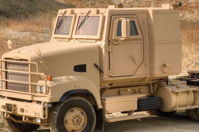 New modular, add-on armor is now available for the Army's newest tactical trucks, such as the M915-A5 Line-Haul Tractor shown here.