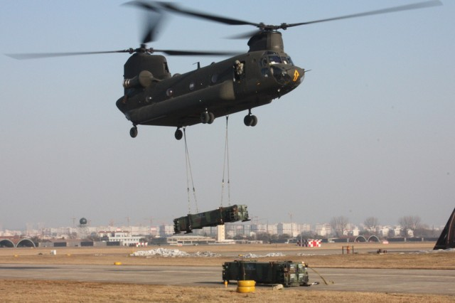 Air Defenders conduct sling load operation in Korea