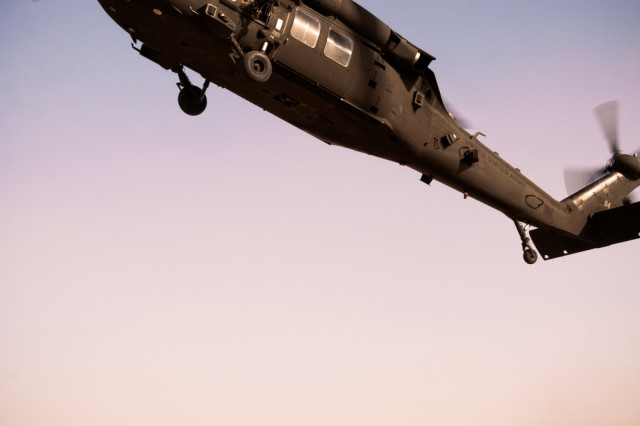 An Army Black Hawk helicopter hovers above Taji Army Airfield, Iraq, Feb. 13 before launching for a mission near Baghdad.