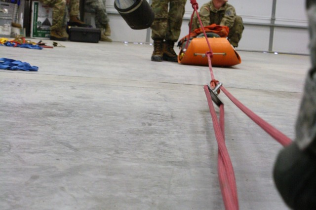 A 3:1 mechanical advantage pulley system is used to demonstrate the transport of a patient Feb. 10 during rope rescue training for Soldiers with 4th Sqdn., 4th Cav. Regt., 1st HBCT, 1st Inf. Div. at Fort Riley Fire Station 4.