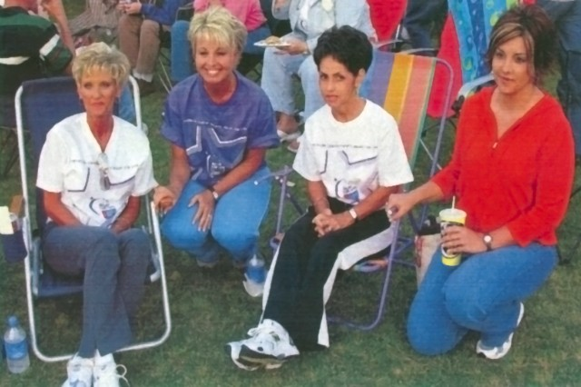 DLA Distribution Anniston, Ala., employee Teresa Smith, second from left, is pictured here at a Calhoun County Relay for Life event with friends Lesia Vandiver, left, Pam Robertson and Beverly Flint, right.