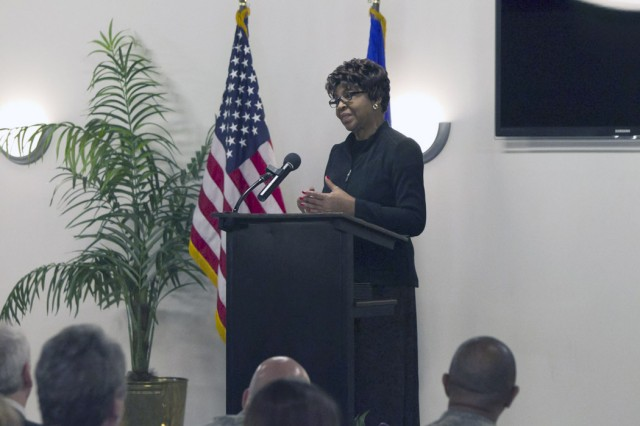 Pearl Williams, who lost her son, Maj. Dwayne Williams, during the Sept. 11, 2001, attack on the Pentagon, spoke at the opening ceremony of Anniston Army Depot's Army Family Action Plan Conference Feb. 9.