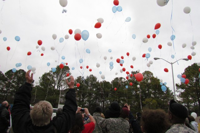 Red, white and blue balloons soar at the Balloon Lift-Off as part of the Tragedy Assistance Program for Survivors Seminar held the weekend of Feb. 4-6 at Bicentennial Chapel.