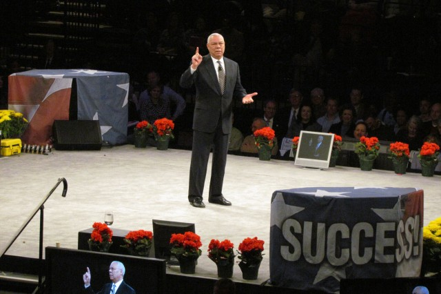 """Retired Gen. Colin Powell, one of America's foremost military leaders and statesmen, believes America is still number one despite the political, economic and foreign policy issues it faces today. He shared his beliefs on leadership during the """"Get Motivated"""" Business Seminar in Birmingham on Feb. 7."""